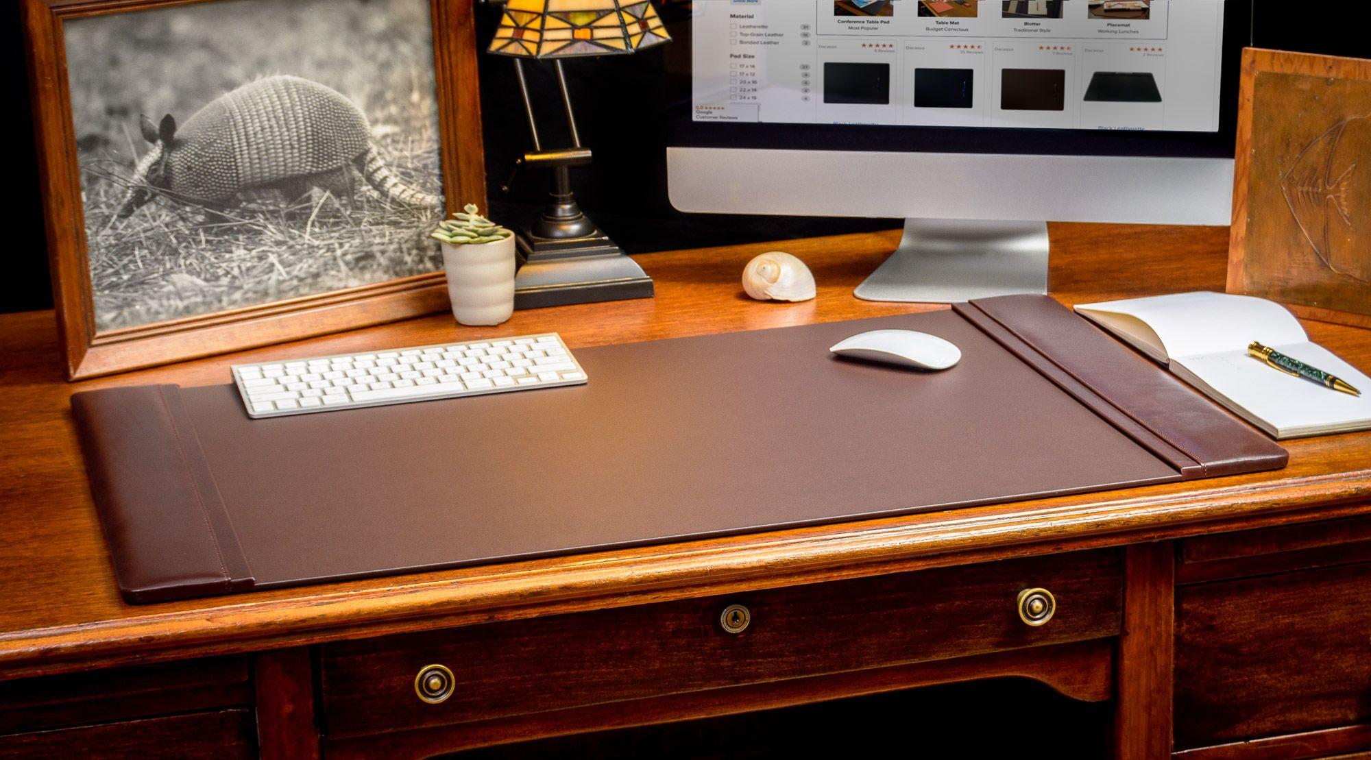 DacassoChocolate Brown (34″ x 20″) Leather Desk Pad